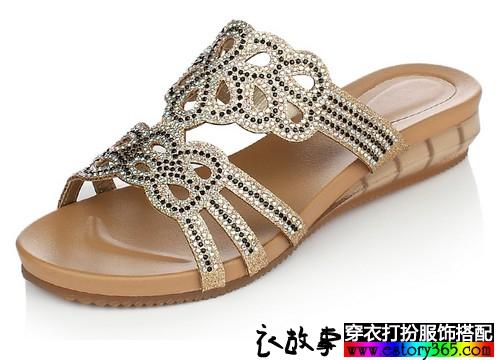 水钻平底凉拖鞋