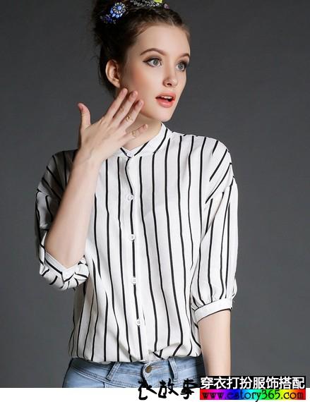 条纹立领雪纺衬衫