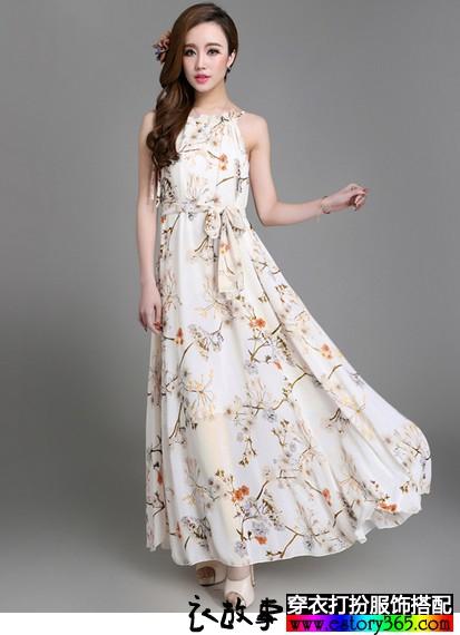 无袖吊带雪纺裙