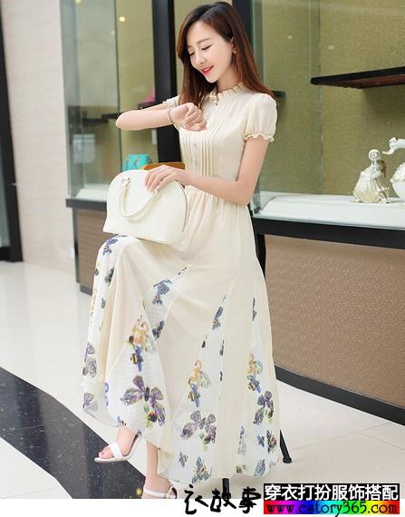 泡泡袖雪纺长裙