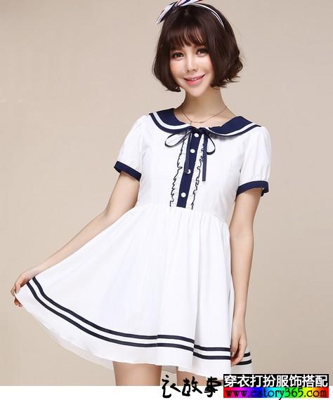 甜美娃娃领少女裙子