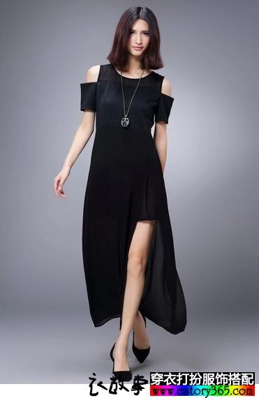露肩短袖修身长裙