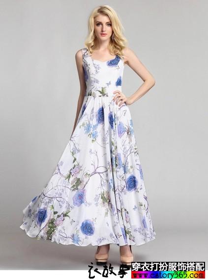 高腰雪纺长裙