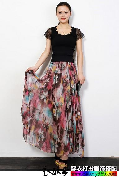 油画印花半身长裙