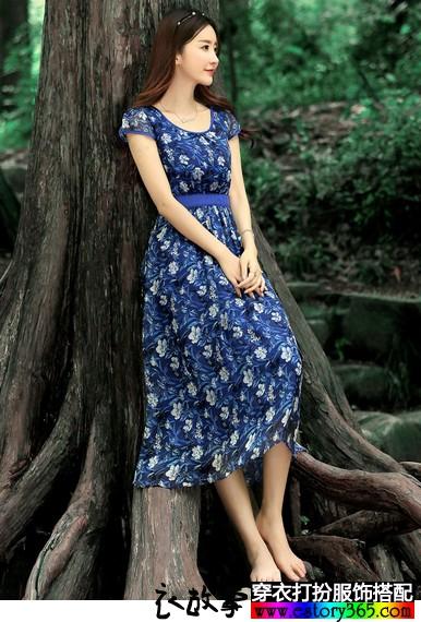 波西米亚重磅真丝连衣裙