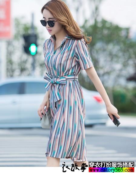 彩色竖条纹连衣裙