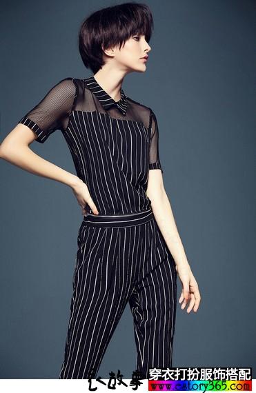 网纱条纹连体裤
