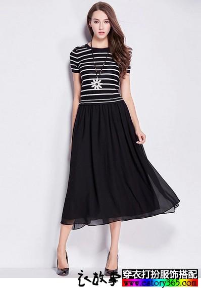 条纹雪纺短袖连衣裙