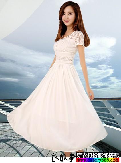 百褶蕾丝雪纺裙