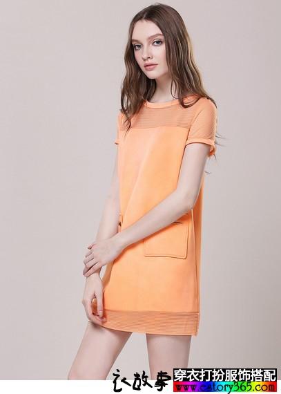 网纱拼接直筒裙