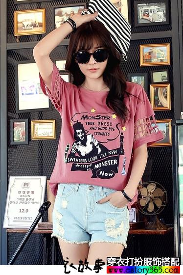 镂空印花短袖T恤