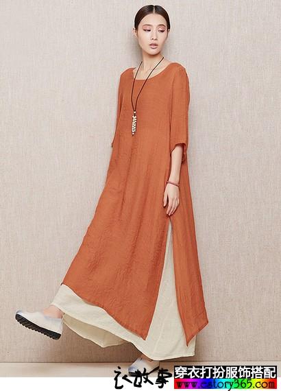 棉麻文艺复古连衣裙
