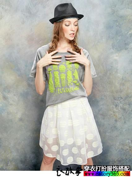 水母印花圆领T恤