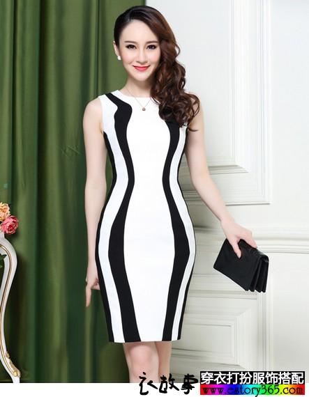 黑白撞色无袖连衣裙