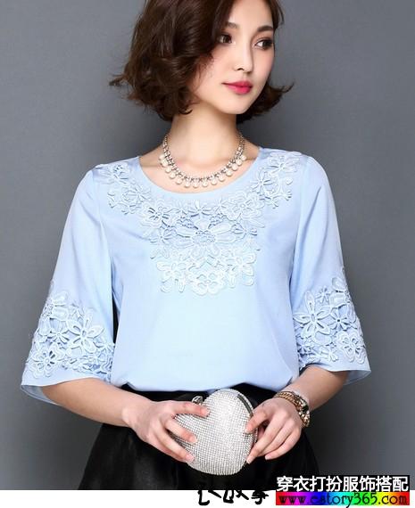 圆领中袖蕾丝刺绣雪纺衫