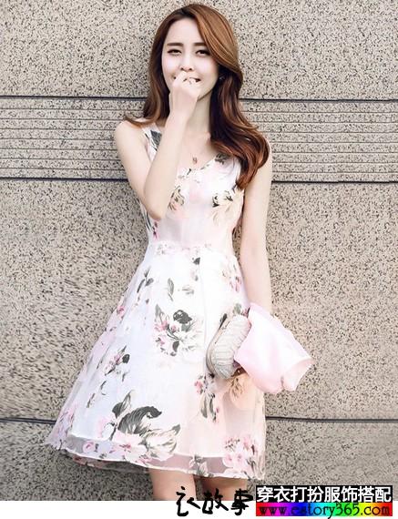 欧根纱印花连衣裙套装