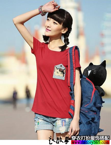 纯棉猫咪刺绣T恤
