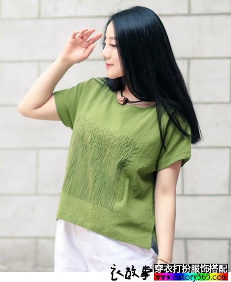 印花亚麻宽松T恤