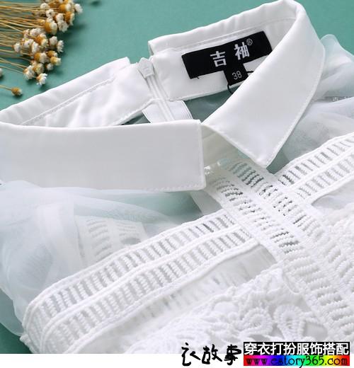 镂空透视欧根纱白裙