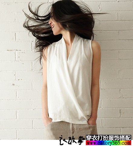 纯棉小立领白色背心