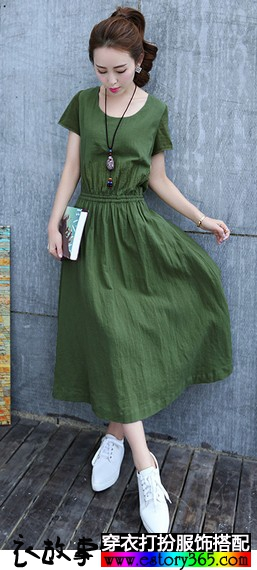 亚麻素色刺绣文艺长裙