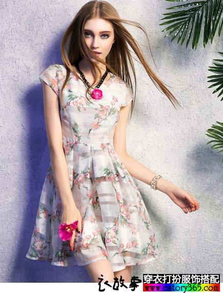 欧根纱印花高腰蓬蓬裙