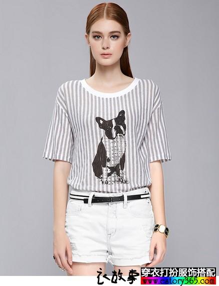 动物印花条纹T恤