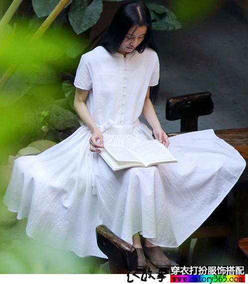 文艺棉麻短袖宽松连衣裙