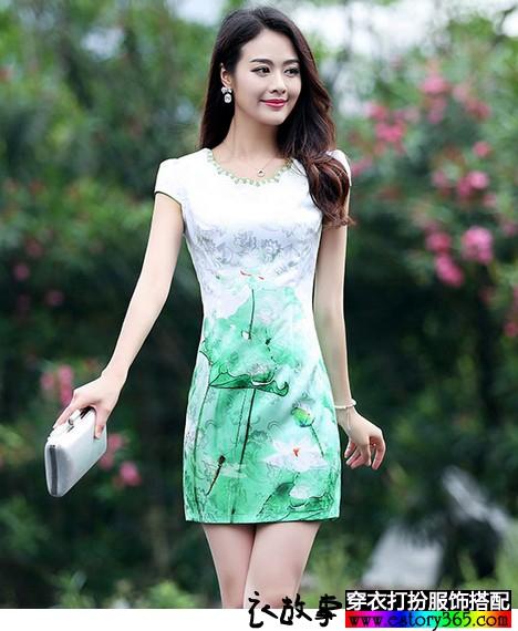 收腰显瘦印花旗袍装