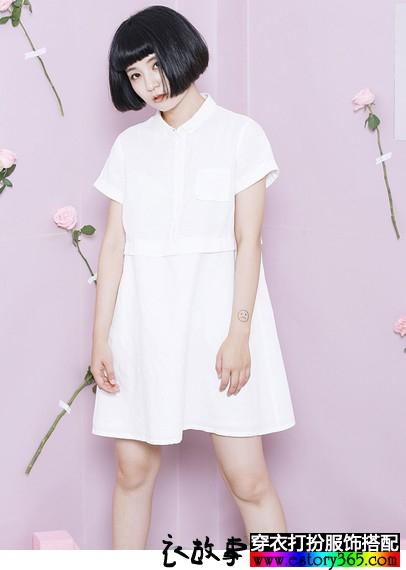 棉麻文艺衬衫式高腰裙