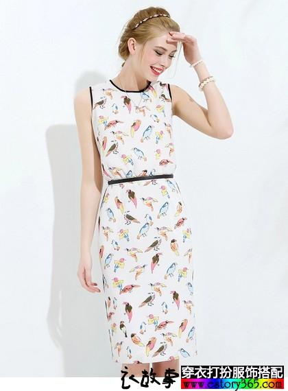 简约撞色趣味印花连衣裙