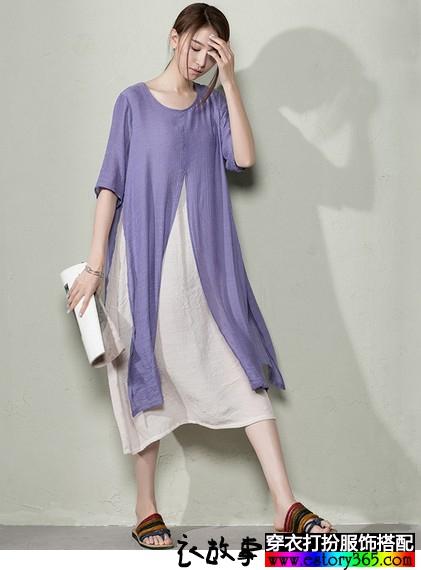 分片假两件棉麻连衣裙