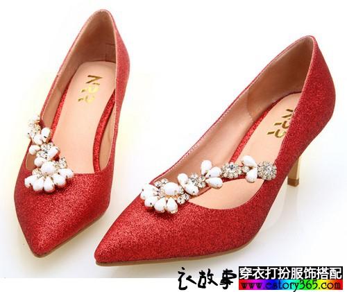 串珠水钻亮布单鞋