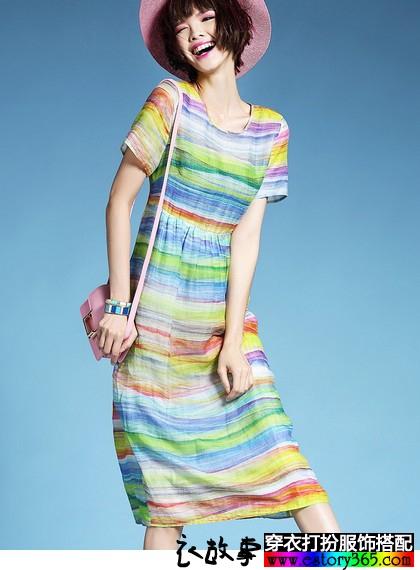 彩虹条纹苎麻连衣裙