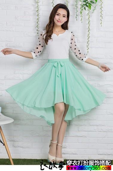 纯色不规则半身裙