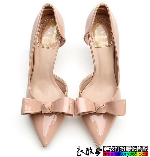 裸色蝴蝶结女士单鞋