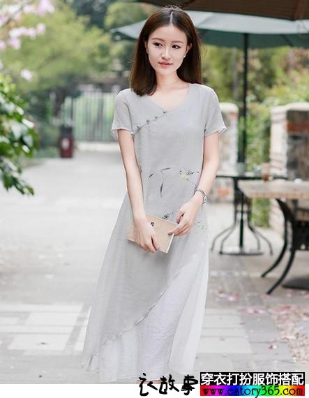 中国风手绘长款连衣裙