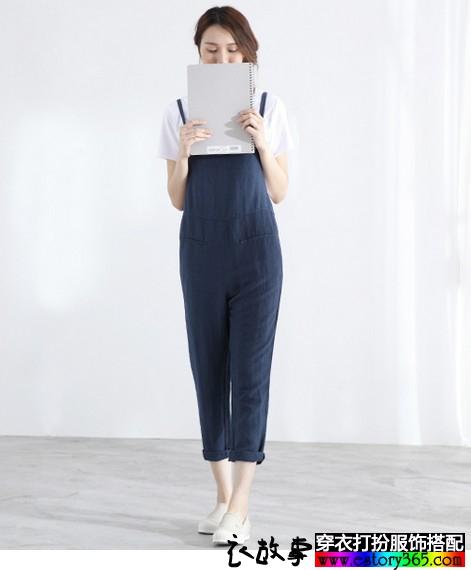 文艺苎麻连体背带裤