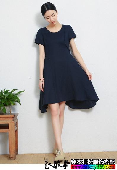 设计感不规则棉麻连衣裙