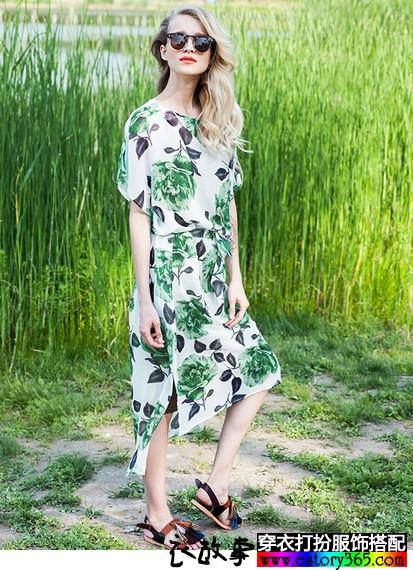 清凉的绿色,夏款绿色连衣裙雪纺衫搭配合辑