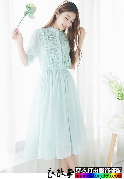 薄荷绿雪纺连衣裙