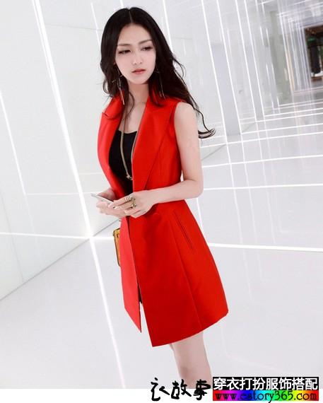 红色无袖开衫职业装