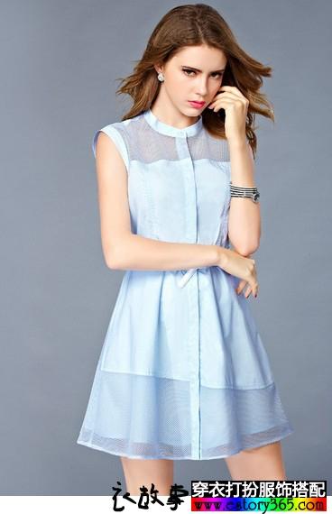 不规则蕾丝拼接衬衫裙