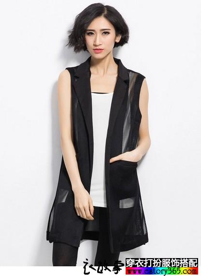 时尚网纱显瘦长款马甲
