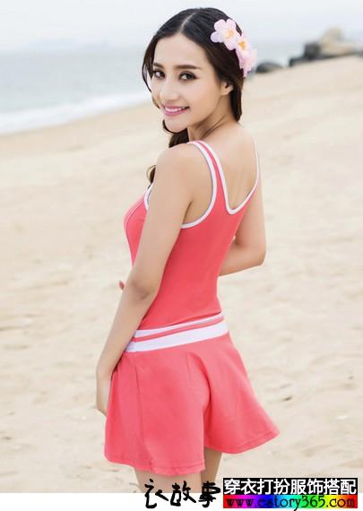 纯色平角裤裙泳衣