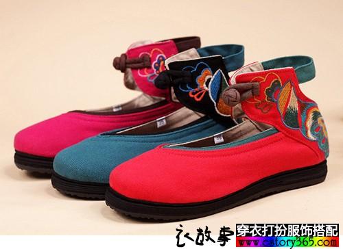 复古绣花千层底布鞋