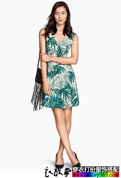 热带植物印花V领连衣裙