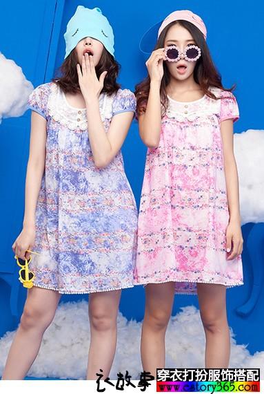 短袖纯棉印花蕾丝睡裙