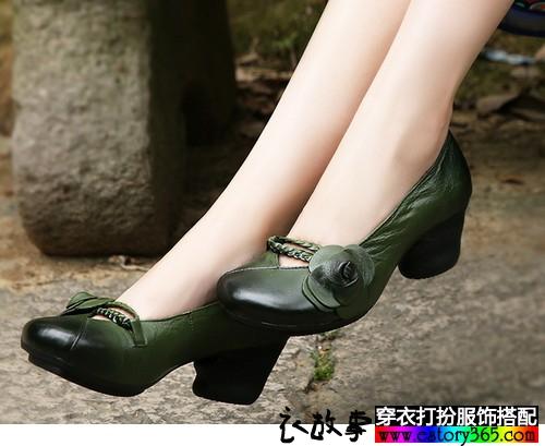 花朵圆头软底单鞋