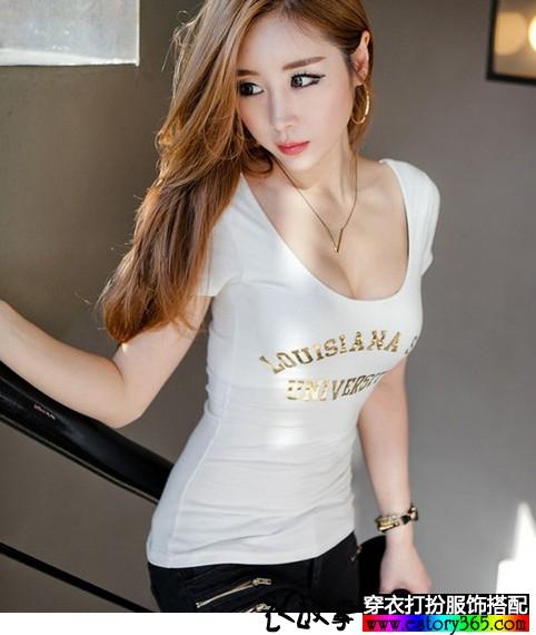 圆领字母短袖T恤